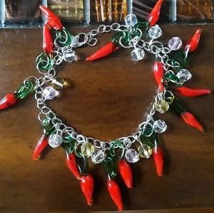 Jewelry - Red chili pepper charm bracelet